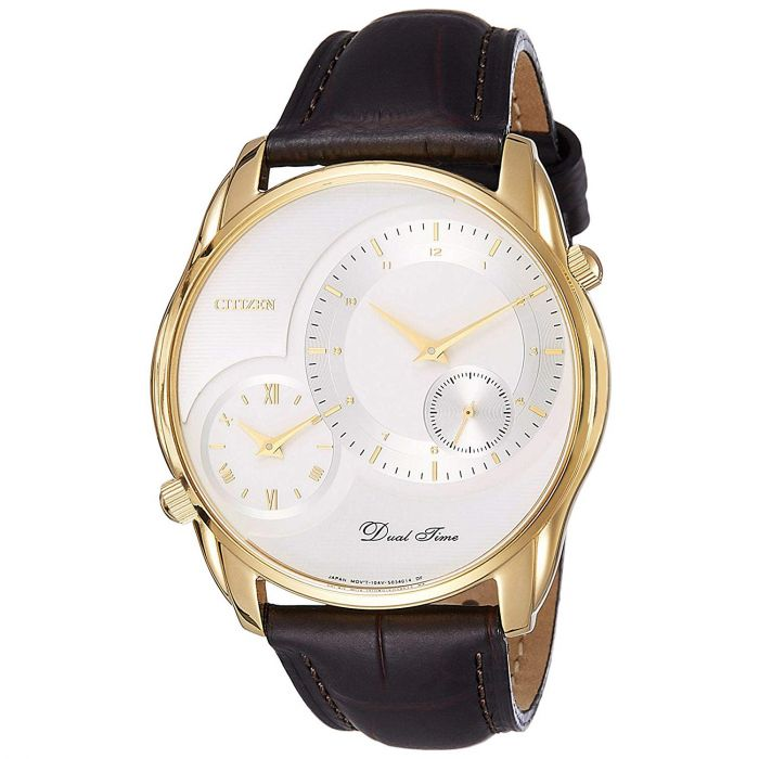 Citizen Dual Time Analog White Dial Gold Bezel Men's Watch AO3008-07A