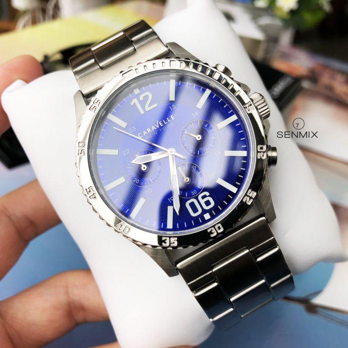 Caravelle New York Logan Chronograph Blue Dial Men's Watch 43A116