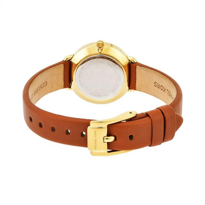 Michael Kors Petite Portia Brown Leather Women's Watch MK2734