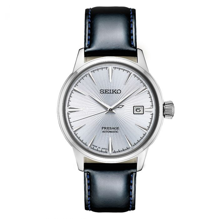 Seiko Presage Cocktail Time Automatic Black Leather Men's Watch SRPB43
