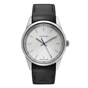 Calvin Klein Bold White Dial Black Leather Men's Watch K5A311C6