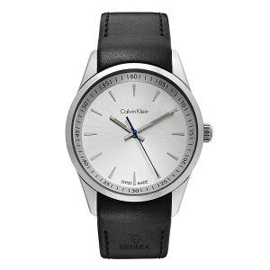 Calvin Klein Bold White Dial Black Leather Men's Watch K5A311C6