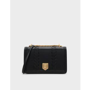 Charles & Keith Weave Crossbody Black Women's Bag CK2-80680689