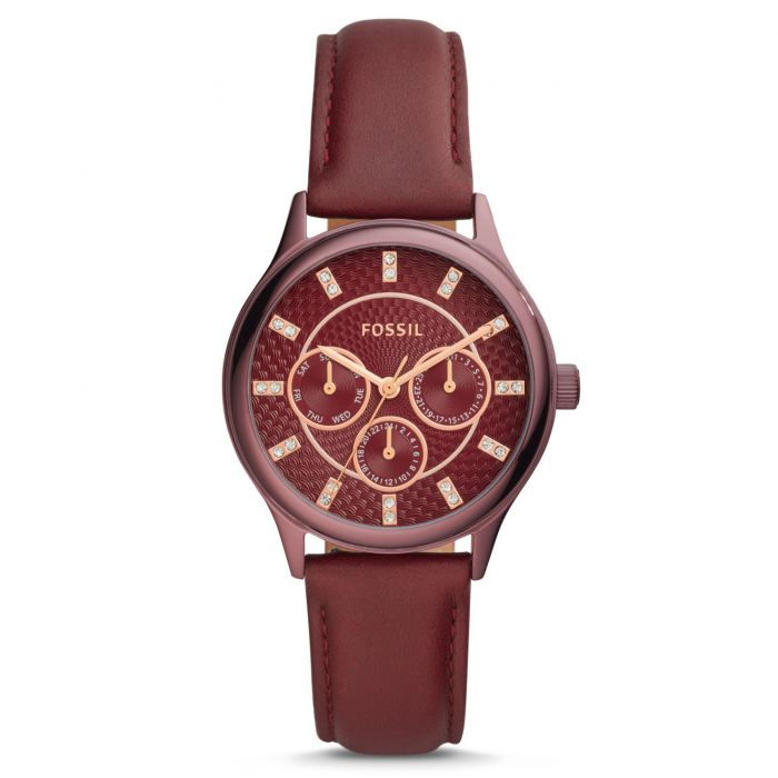 Fossil Sophisticate Multifunction Wine Leather Women's Watch BQ3285