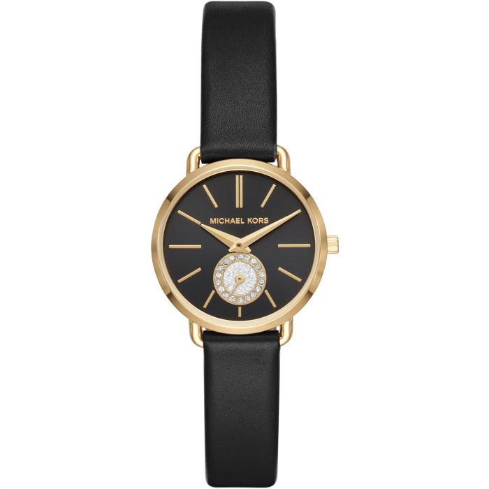 Michael Kors Petite Portia Black Leather Women's Watch MK2750