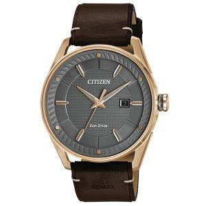 Citizen CTO Drive Grey Dial Gray Dial Brown Leather Strap Men's Watch BM6983-00H
