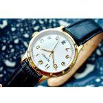 Bulova Classic Cream Mặt Tròn Màu Trắng Dây Da Màu Đen Lịch Ngày 97B147