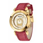 Salvatore Ferragamo Minuetto Gold Swiss Quartz Pink Leather Women's Watch FQ4240015