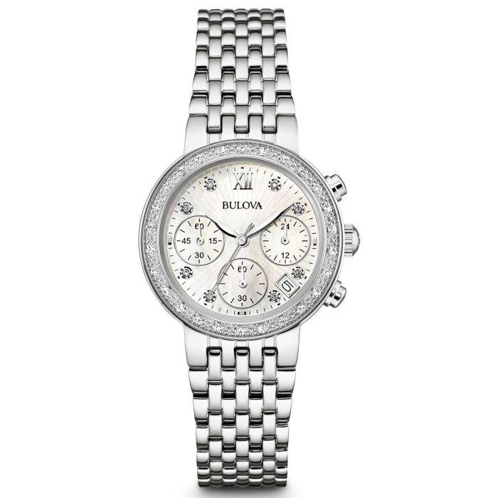 Bulova Diamond Chronograph Mặt Tròn Khảm Trai Đính Đá Dây Kim Loại Màu Bạc Lịch Ngày 96R204