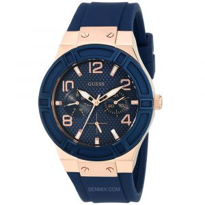 Guess Rose Gold Tone Rigor Blue Silicone Women's Watch U0571L1