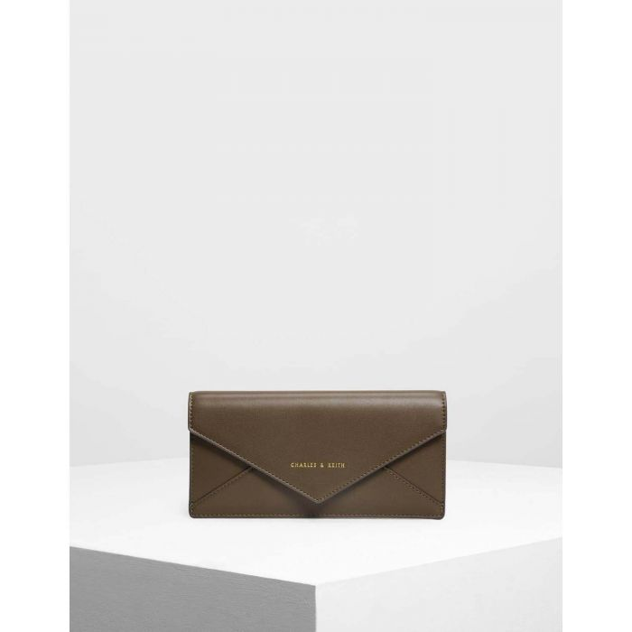 Charles & Keith Long Casual Envelope Flap Olive Women's Wallet CK6-10680451