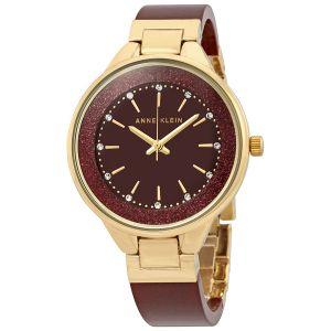 Anne Klein Burgundy Bangle Swarovski Crystal Women's Watch 1408BYBY