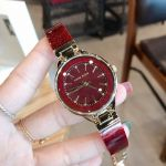Anne Klein Burgundy Bangle Swarovski Crystal Women's Watch 1408BYBY