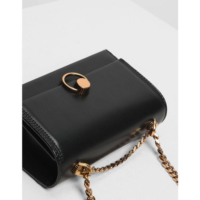Charles & Keith Chain and Strap Push Lock Shoulder Candy Black Women's Bag CK2-20780764