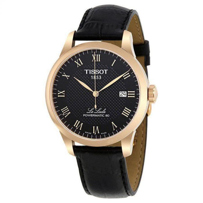 Tissot T-Classic Powermatic 80 Automatic Black Leather Men's Watch T006.407.36.053.00