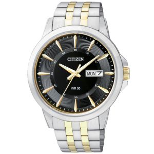 Citizen Day Date Black Dial Two Tone Men's Watch BF2018-52E