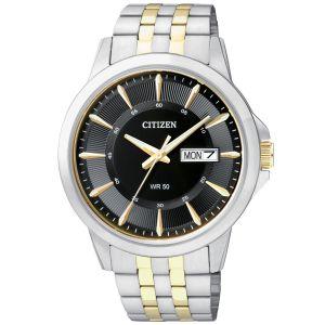 Citizen Day Date Black Dial Two Tone Men's Watch BF2018-52E