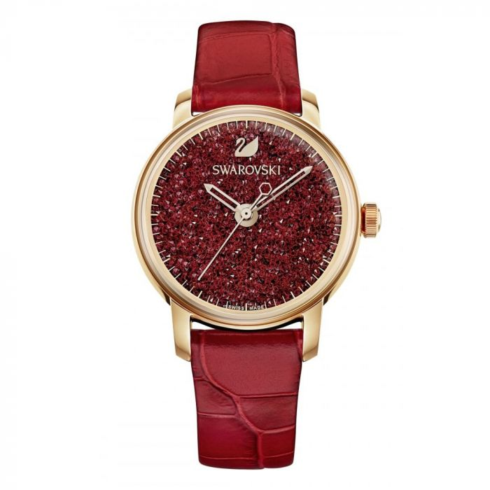 Swarovski Crystalline Hours Red Leather Women's Watch 5295380