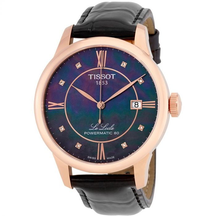 Tissot Le Locle Powermatic 80 Automatic Diamond Black Mother of Pearl Men's Watch T006.407.36.126.00