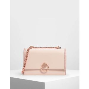 Charles & Keith Chain and Strap Push Lock Shoulder Candy Light Pink Women's Bag CK2-20780764