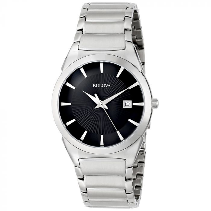 Bulova Essentials Classic Black Dial Stainless Steel Men's Watch 96B149