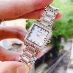 Bulova Diamond Accented Mặt Vuông Khảm Trai Dây Kim Loại Màu Bạc 96R107