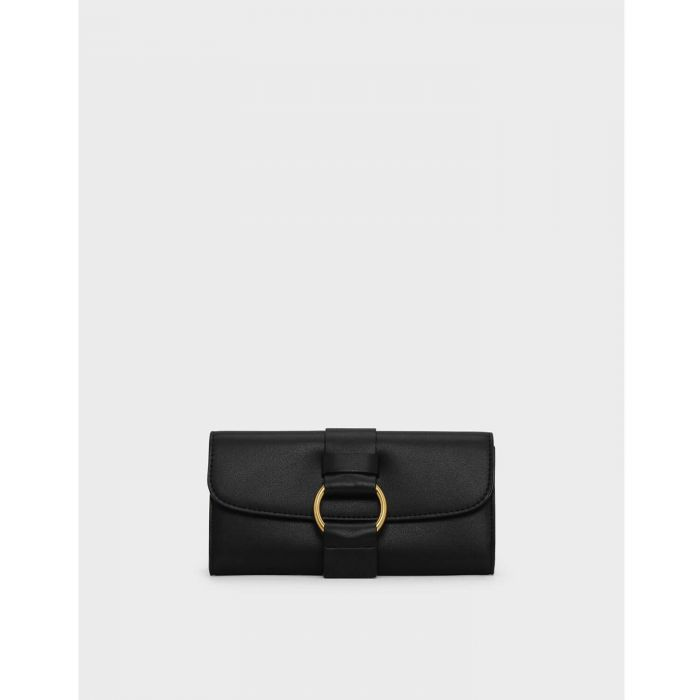 Charles & Keith Ring Detail Long Black Women's Wallet CK6-10770327