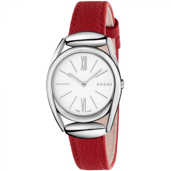 Gucci Horsebit White Lacquered Dial Red Leather Women's Watch YA140501