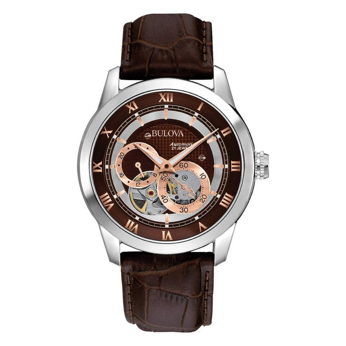 Bulova Hand Wind Dual Aperture Brown Genuine Leather Men's Watch 96A120