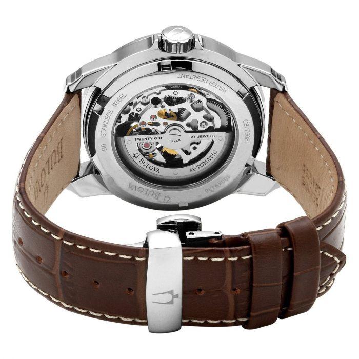 Bulova Hand Wind Dual Aperture Brown Genuine Leather Men's Watch 96A120