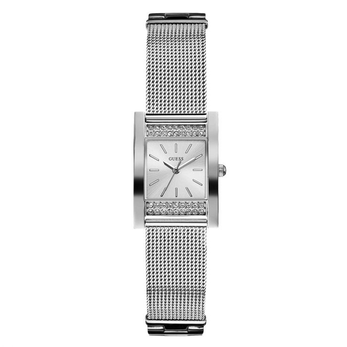 Guess Silver-Tone Rectangular Women Watch U0127L1M
