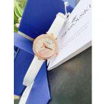 Swarovski Aila Dressy Swan Mặt Tròn Đính Đá Dây Da Màu Trắng 5376639