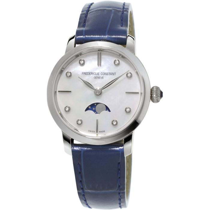 Frederique Constant Slimline Moonphase Mother of Pearl Blue Leather Women's Watch FC-206MPWD1S6
