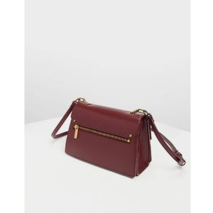 Charles & Keith Chain Link Clutch Prune Women's Bag CK2-80270179