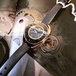 Swarovski Crystalline Mặt Bầu Dục Đính Pha Lê Viền Vàng Hồng Dây Da Màu Xám 5230943