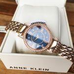 Anne Klein Swarovski Crystals Blue Dial Rose Gold-Tone Women's Watch 2928NVRG