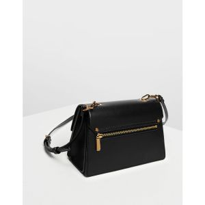 Charles & Keith Chain Link Clutch Black Women's Bag CK2-80270179