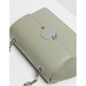 Charles & Keith Chain Link Clutch Sage Green Women's Bag CK2-80270179