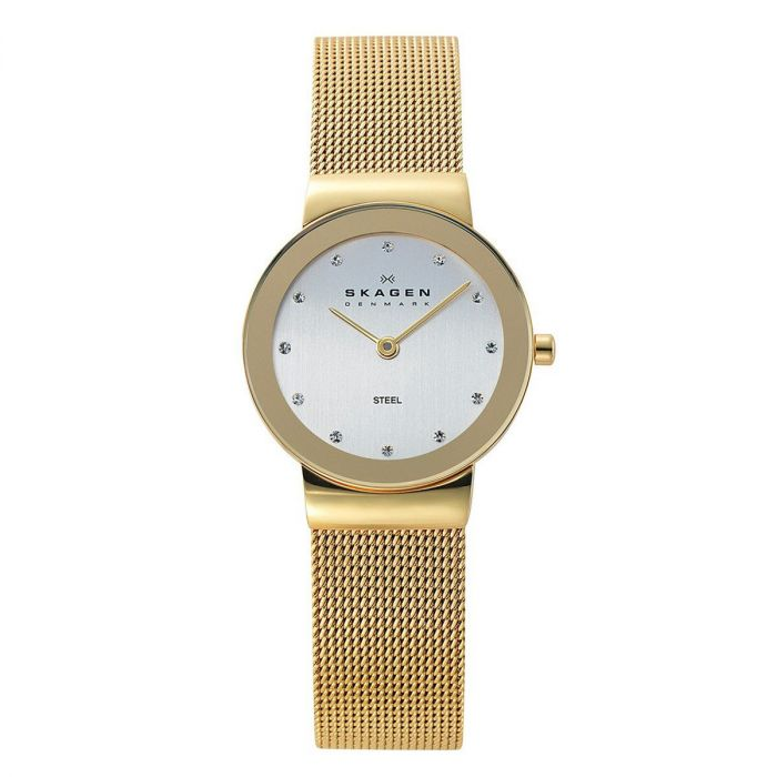 Skagen Freja White Dial Gold Plated Mesh Women's Watch 358SGGD