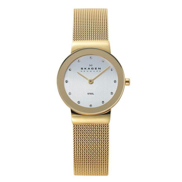 Skagen Freja White Dial Gold Plated Mesh Women's Watch 358SGGD