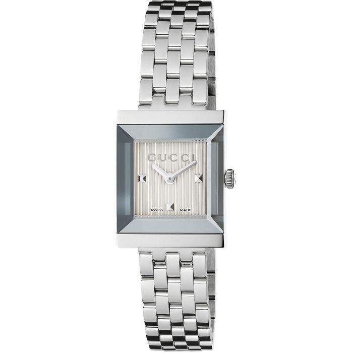 Gucci G-Frame Silver Guilloche Sapphire Crystal Women's Watch YA128402