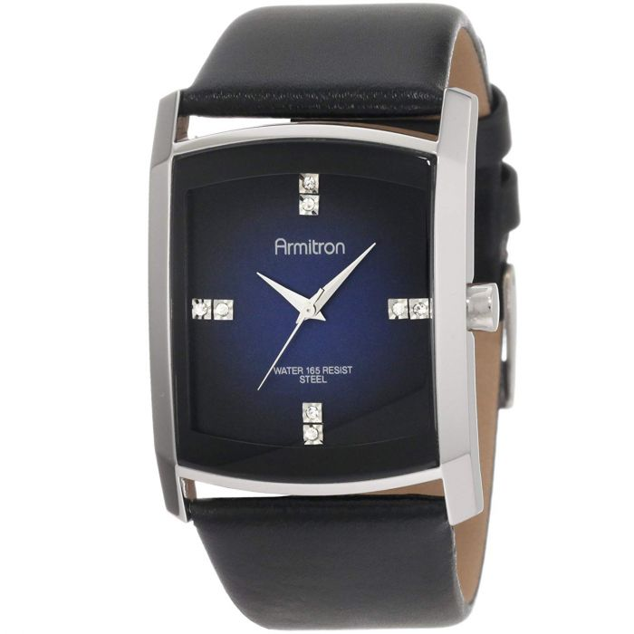 Armitron Crystal Accented Gray Degrade Black Leather Strap Men's Watch 20/4604DBSVBK