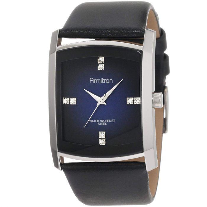 Armitron Crystal Accented Gray Degrade Black Leather Strap Men's Watch 20/4604DBSVBK