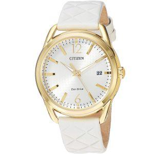 Citizen Eco-Drive Champagne Mặt Tròn Màu Vàng Lịch Ngày Quai Da Màu Trắng FE6082-08P