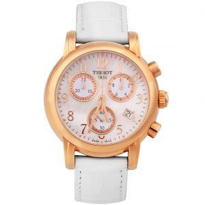 Tissot T-Classic Dressport Chronograph Mặt Tròn Khảm Trai Dây Da Màu Trắng Lịch Ngày T050.217.36.112.00