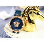 Versace Palazzo Empire Mặt Tròn Viền Vàng Hồng Dây Da Màu Xanh  VECQ00318