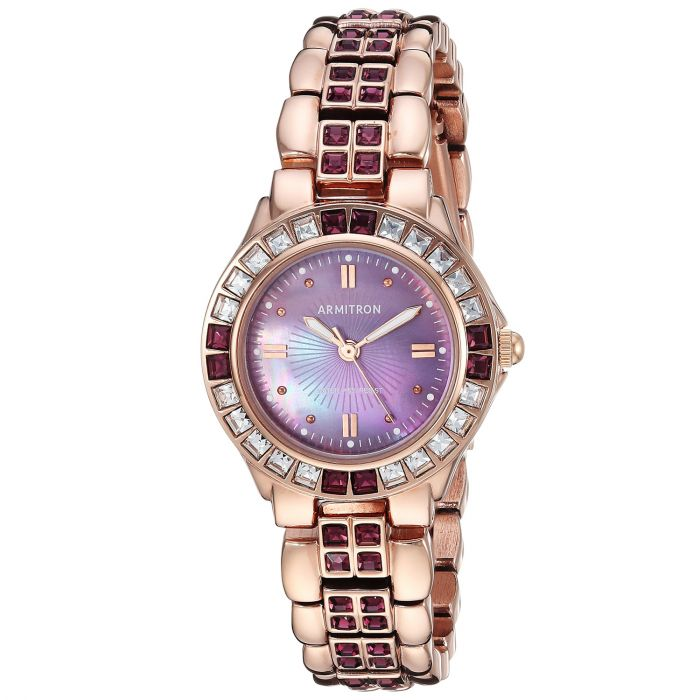 Armitron Amethyst Colored Crystal Accented Gold Tone Women's Watch 75/3689VMRG
