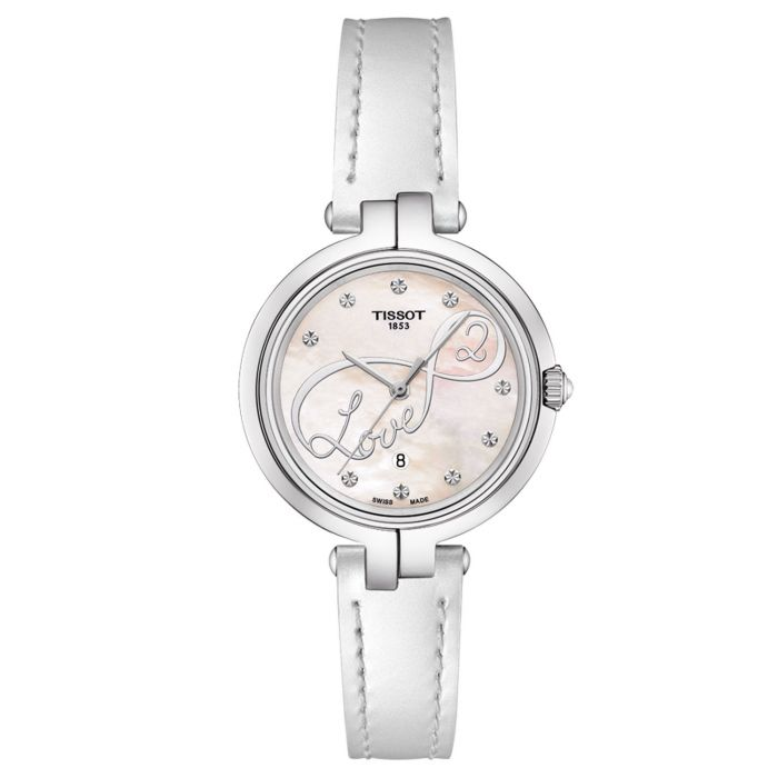 Tissot Flamingo Mother of Pearl White Leather Women's Watch T094.210.16.111.01