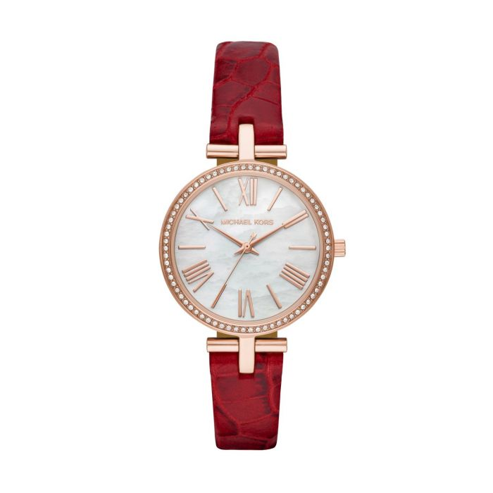Michael Kors Maci Red Leather Strap Buckle Women's Watch MK2791