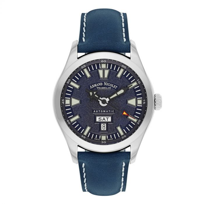 Armand Nicolet Tramelan Day Date M02 Automatic Blue Leather Men's Watch 9740M-BU-P140BU2